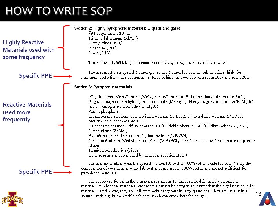 HOW TO WRITE SOP Highly Reactive Materials Used With Some Frequency