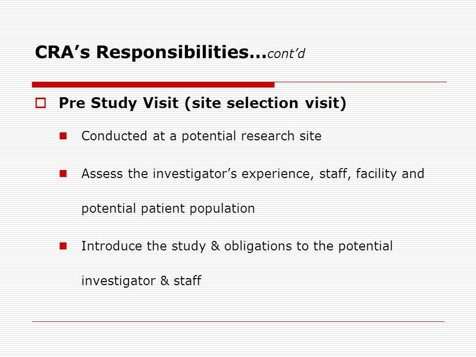 Pre study site visit report