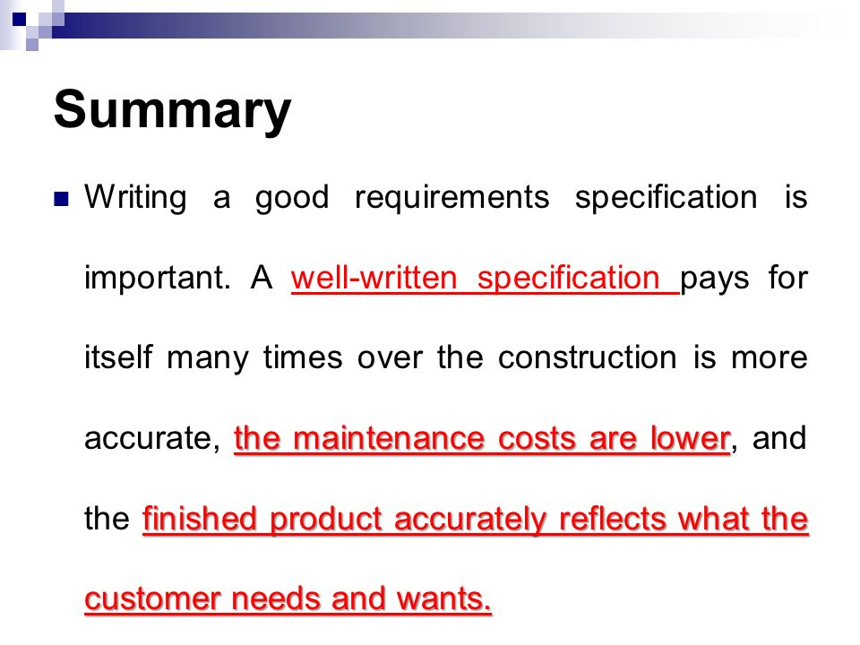 writing a good specification