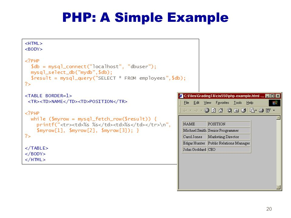 how to connect mysql with php explain with an example