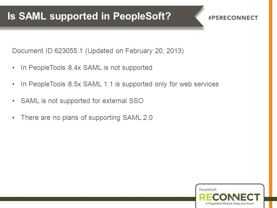 Is SAML supported in PeopleSoft