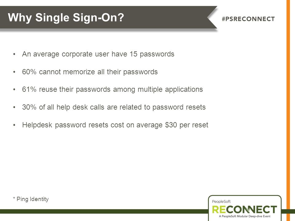Why Single Sign-On An average corporate user have 15 passwords