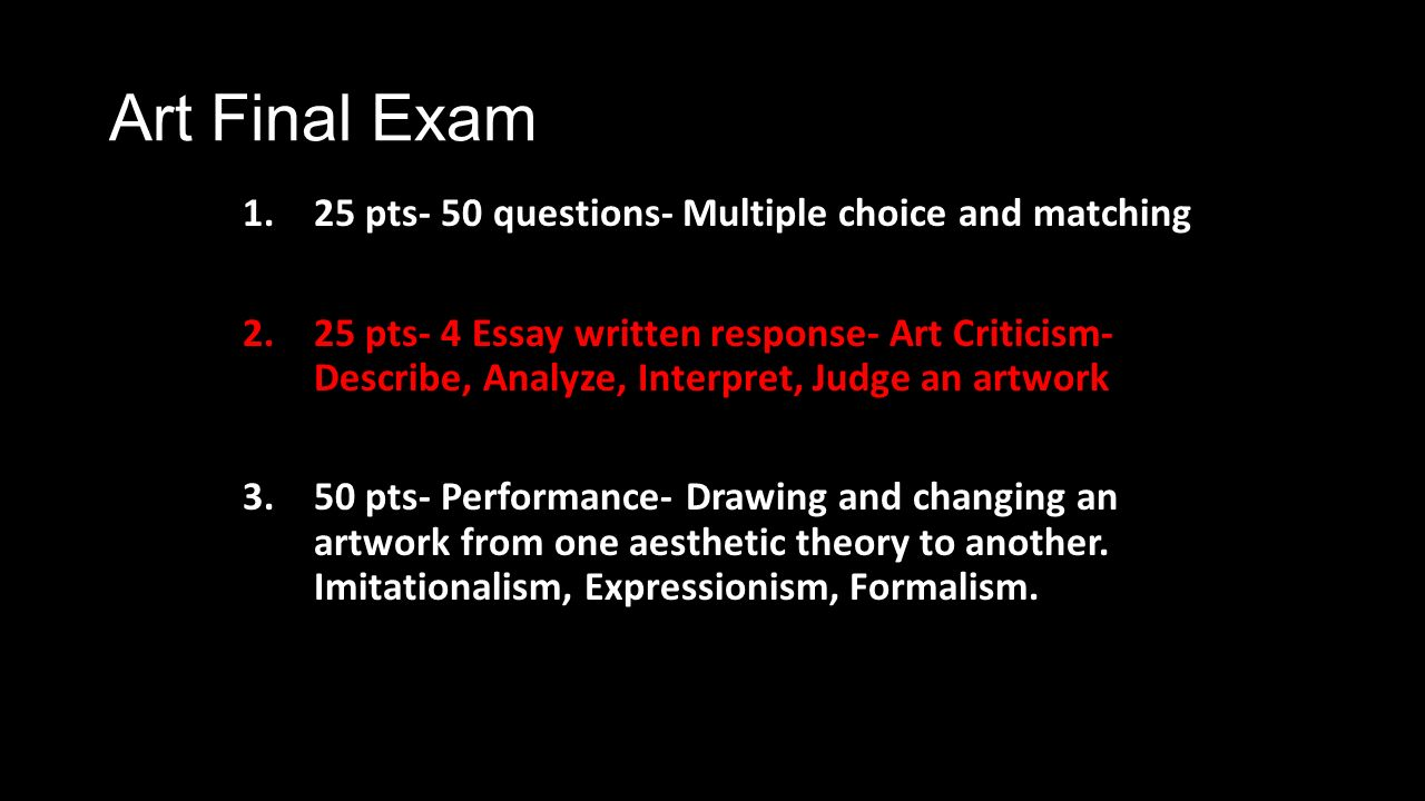 essay questions for art How do you write an art evaluation a:  related questions q:  several persuasive essay topics for high school include the importance of requiring.