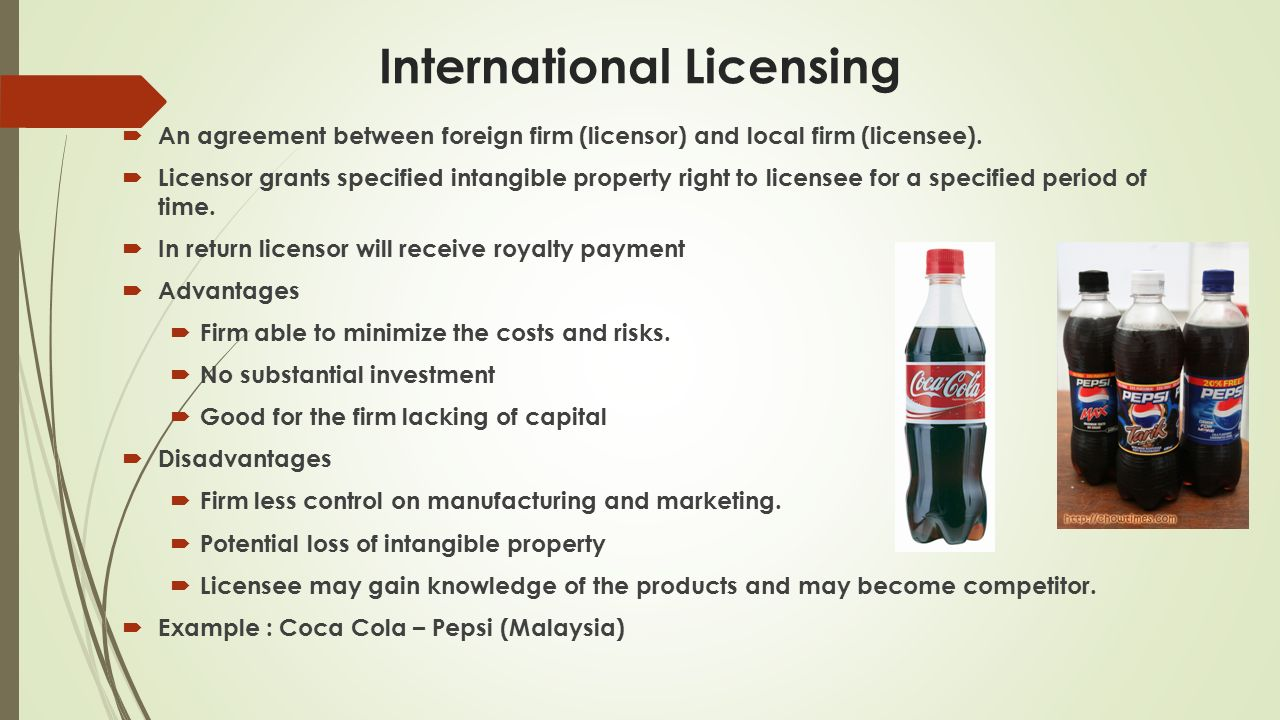coca cola market entry mode Start studying int'l mktg - chapter 9 driver behind market opportunities and coca-cola looks at per as to a mode of entry into a foreign market.