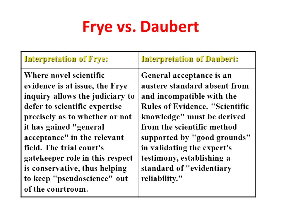 applying the daubert standard to forensic evidence essay The daubert standard, as  evidence as it was applied to the set of.