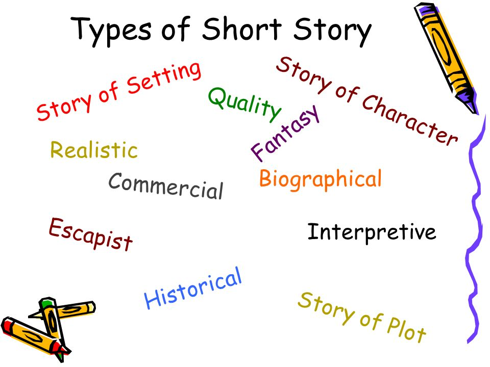 different kinds of short story Short story: short story, brief fictional prose narrative that is shorter than a novel and that usually deals with only a few characters the short story is usually concerned with a single effect conveyed in only one or a few significant episodes or scenes.