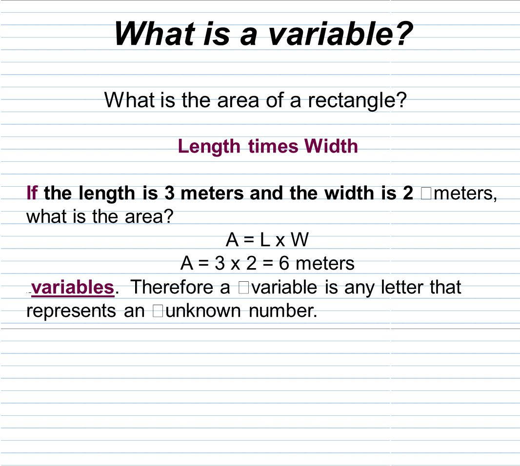 how to find the area of a rectangle with variables