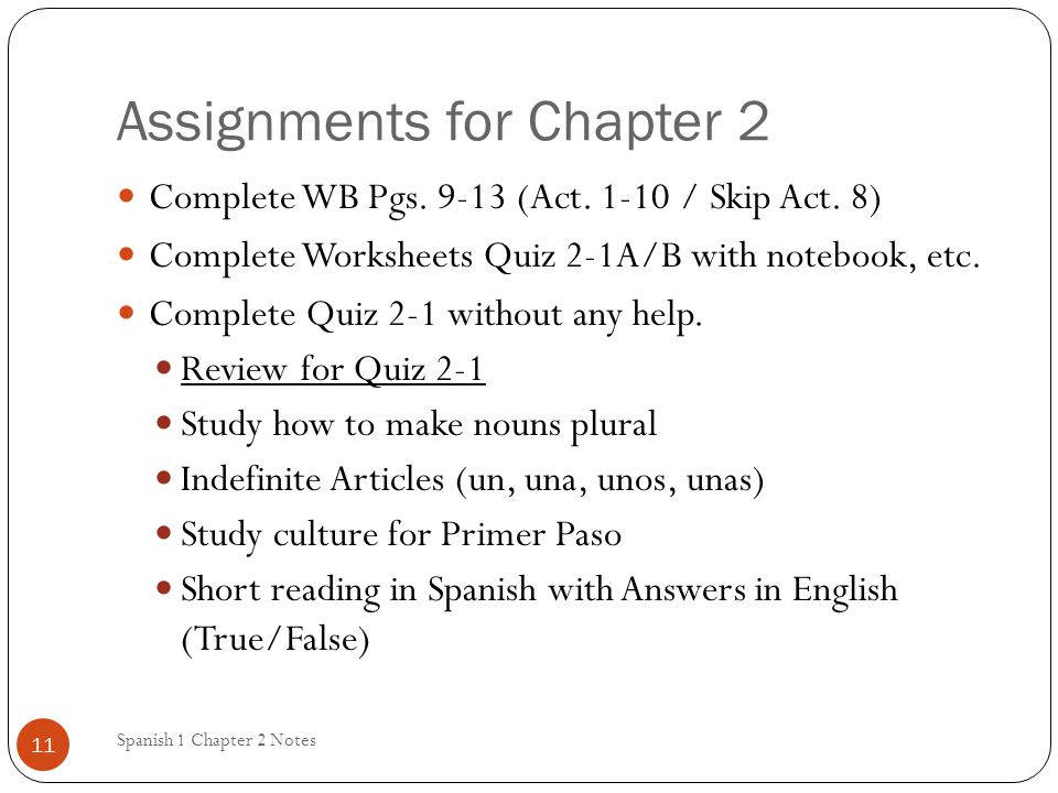 Assignments for Chapter 2