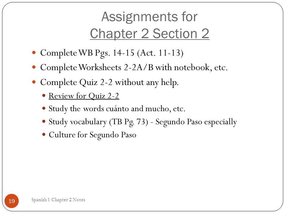 Assignments for Chapter 2 Section 2
