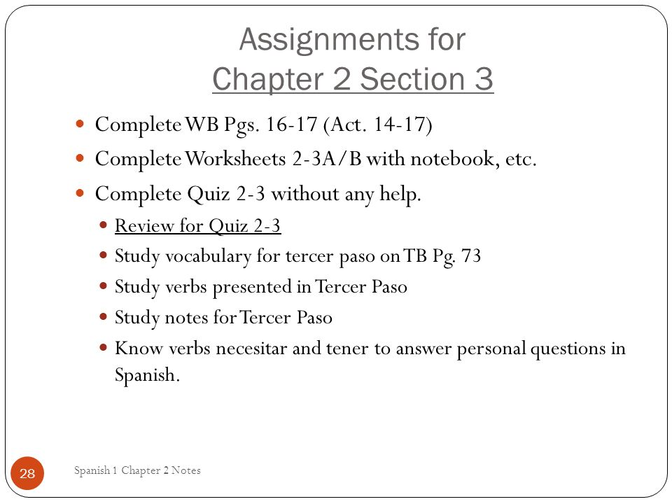 Assignments for Chapter 2 Section 3