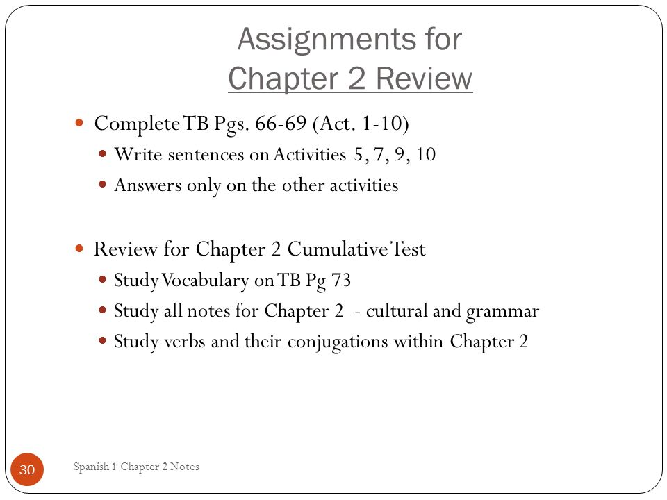Assignments for Chapter 2 Review