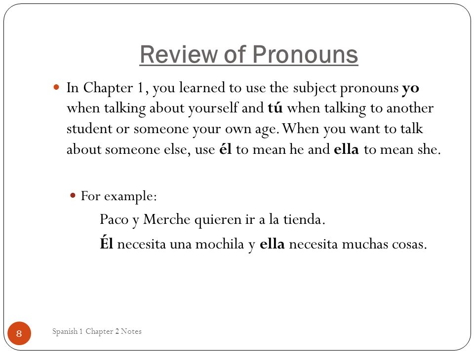 Review of Pronouns