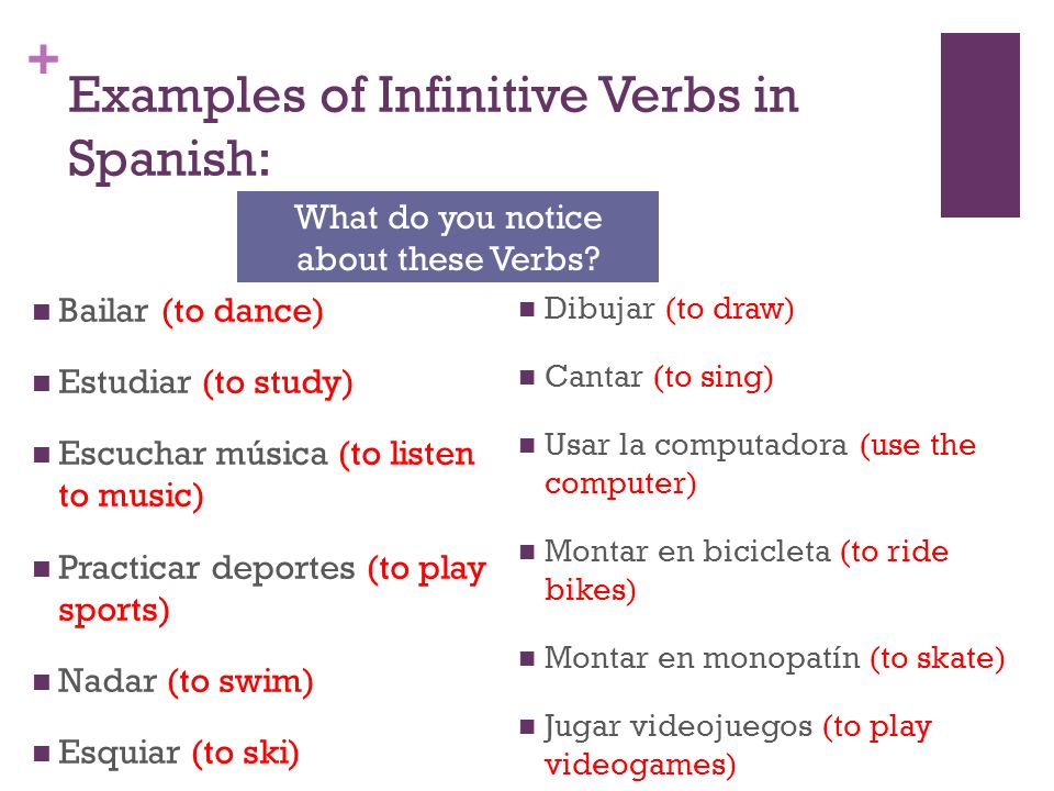 Examples of Infinitive Verbs in Spanish: