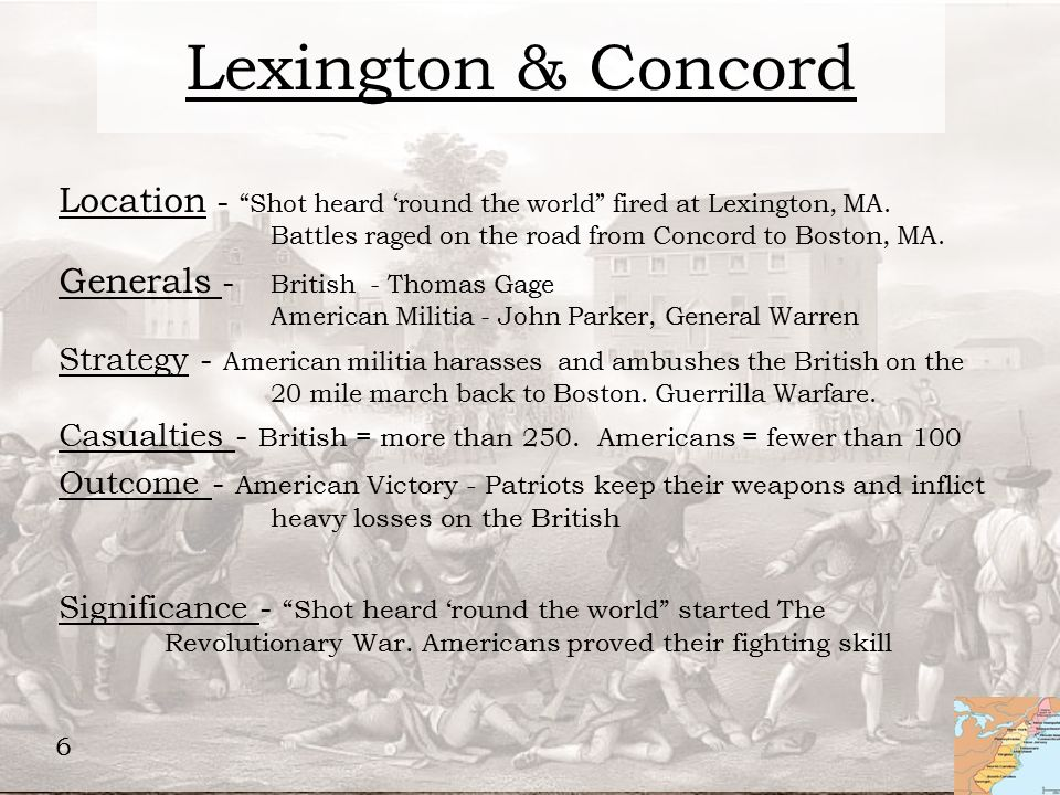 concord and lexington relationship to outcome of revolutionary war
