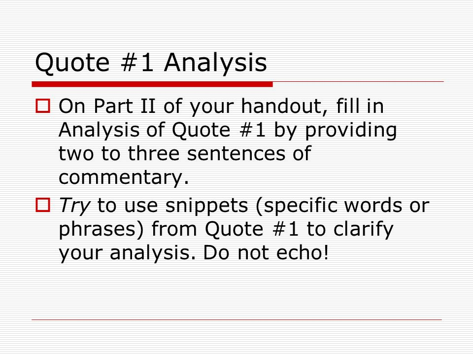 analysis of quotes from in the