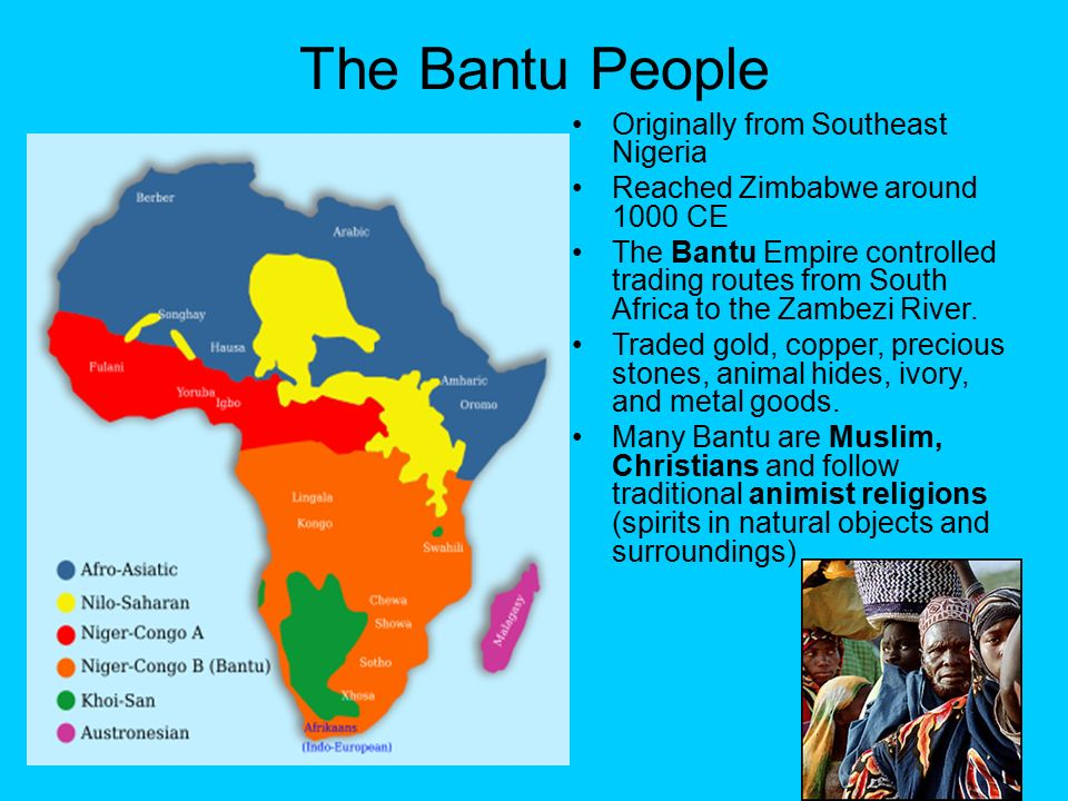 bantu people The bantu migration is the movement of the bantu people, originally from congo, into other countries of eastern and southern africa such as tanzania and kenya.