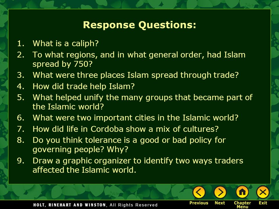 Response Questions: What is a caliph