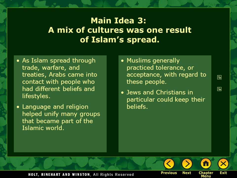 Main Idea 3: A mix of cultures was one result of Islam's spread.