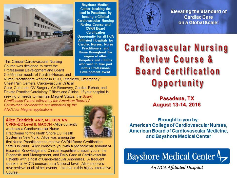 Cardiovascular Nursing Review Course Board Certification