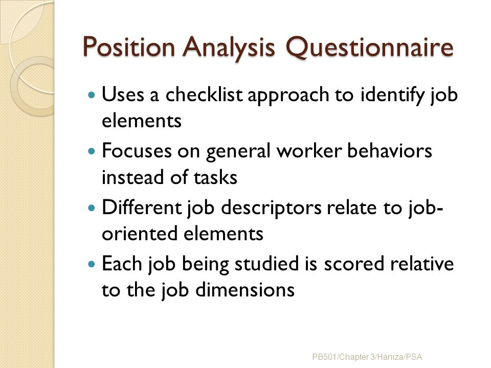 Position Analysis Questionnaire Example Chapter 3 Job Ppt Video Online Download