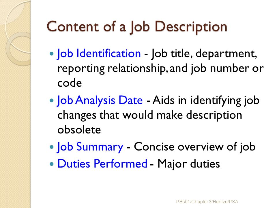 how to distinguish a job description Next compare those responsibilities to the job descriptions of other positions similar to your job and determine what the most appropriate job title is for your duties and experience if you have 3 months on the job a title of senior or expert is clearly not appropriate.