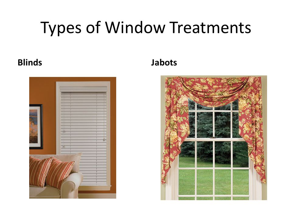 Windows window treatments ppt video online download Types of blinds
