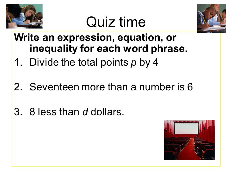 SOLUTION: Write an inequality and solve each problem. Eight less than a number is less than 1