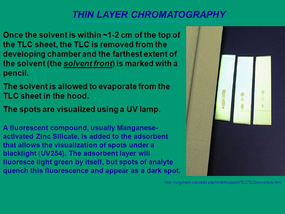 expt 81 thin layer chromatography tlc Thin layer chromatography (tlc) is an easy  expt 4 page (you may bring the figure pages to lab) write labels at the top as shown in the figure.