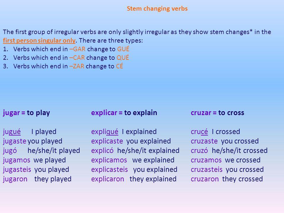 explicaste you explained explicó he/she/it explained