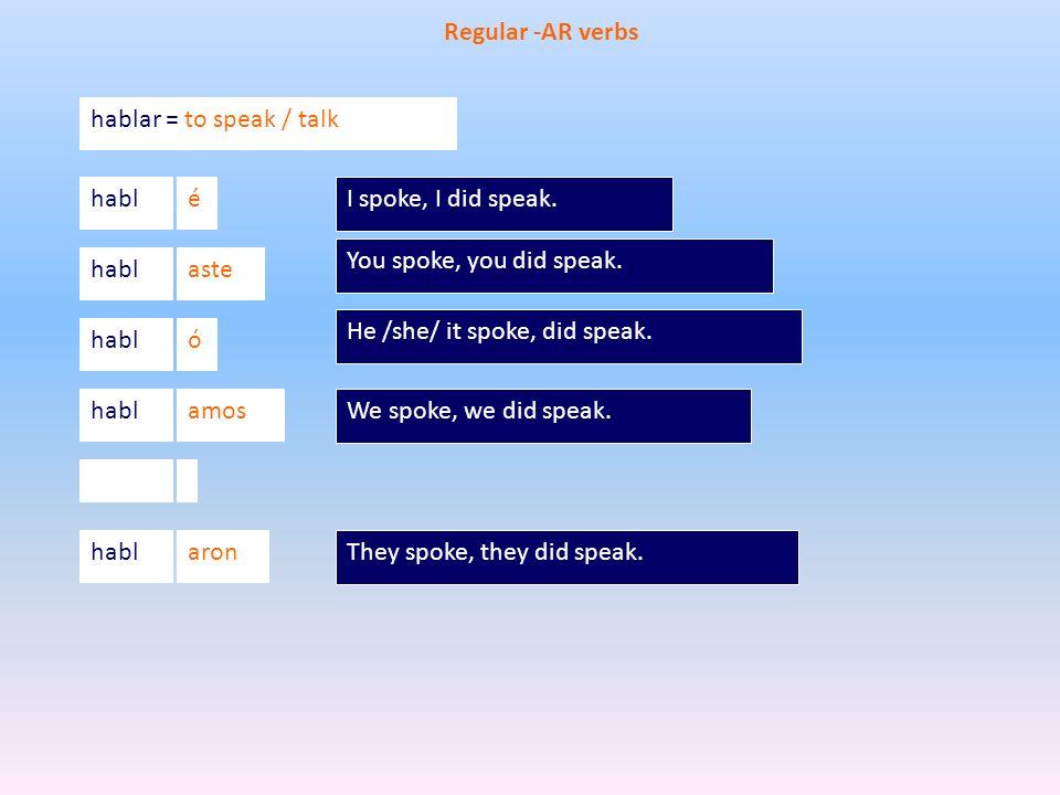 He /she/ it spoke, did speak. ó