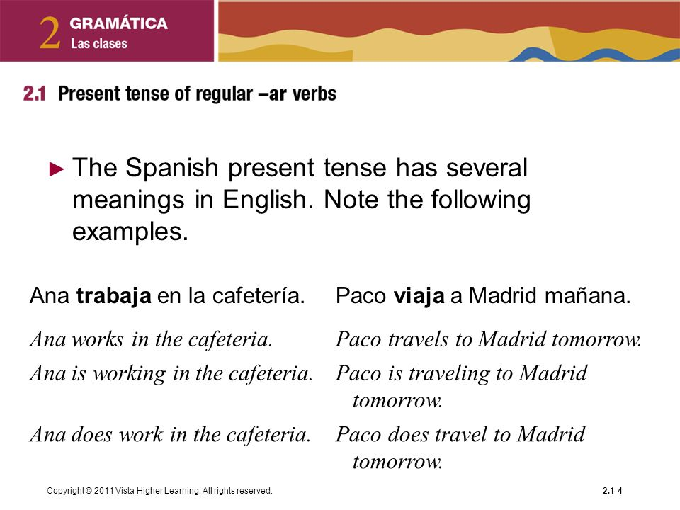The Spanish present tense has several meanings in English