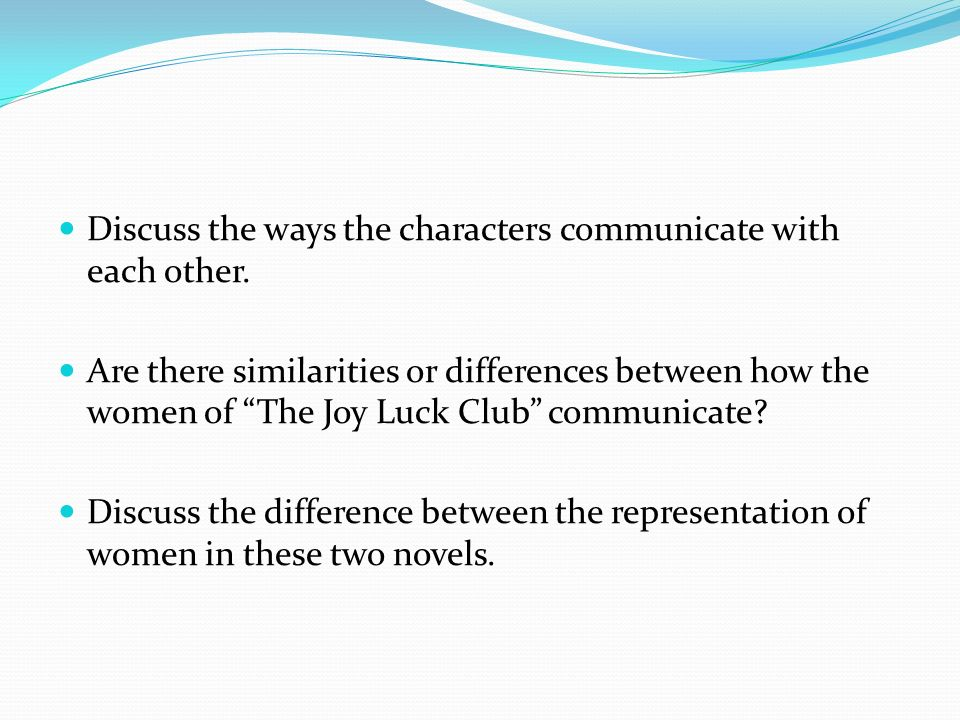 an outline of the characters and their roles in the joy luck club A detailed description of the joy luck club characters and their importance part  of a free study guide from bookragscom.