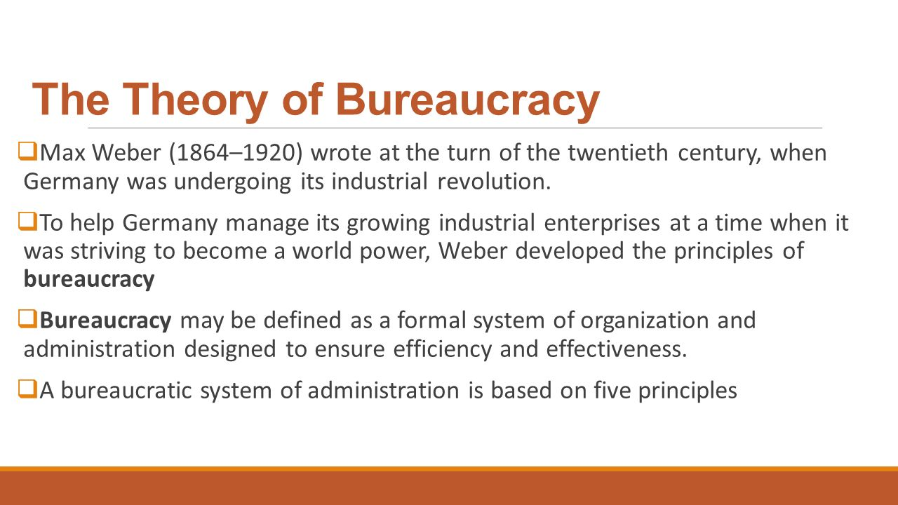 bureaucratic and administrative management theories Theory of bureaucracy in organization max weber  a bureaucratic system of administration is based on the five  administrative management theory henri.