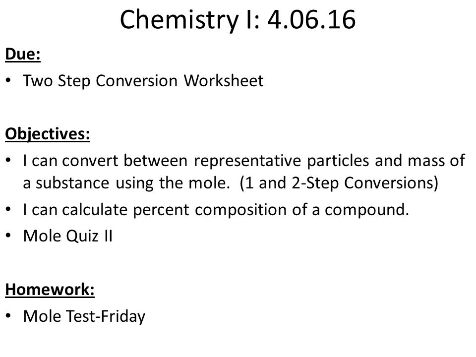 Objectives Chemical Reaction Examwill include lab from yesterday – Chemistry Percent Composition Worksheet