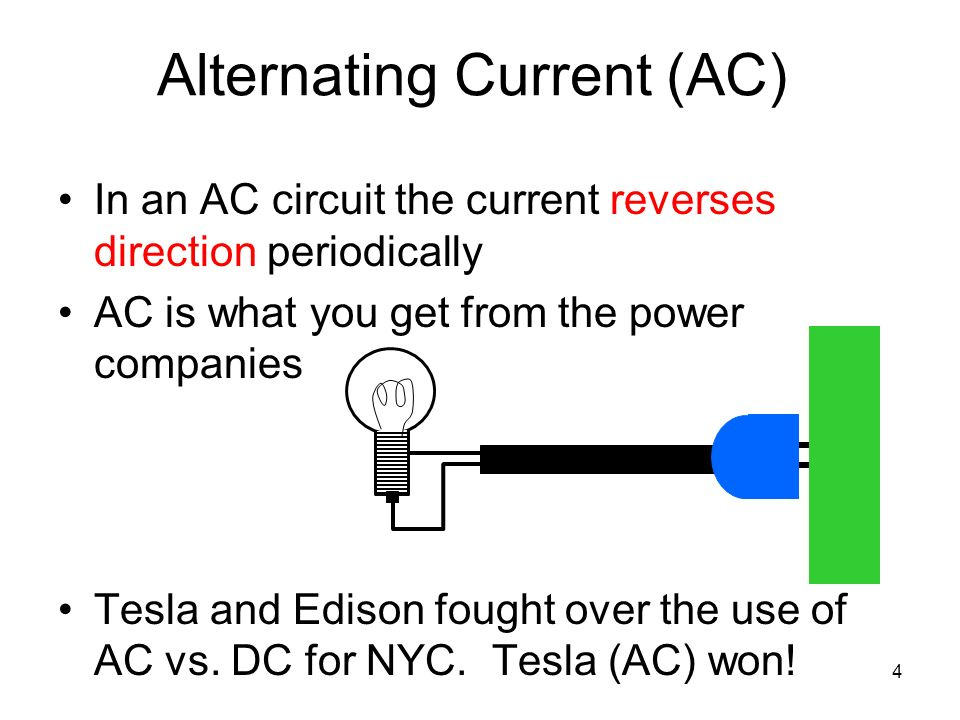 alternating current and ac electricity Alternating current (ac) is the current generated by the vast majority of power plants and used by most power distribution systems, as it is cheaper to generate and has fewer energy losses than direct current when transmitting electricity over long distances.