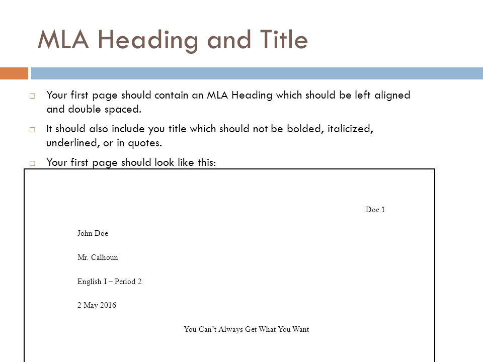 how to mla header