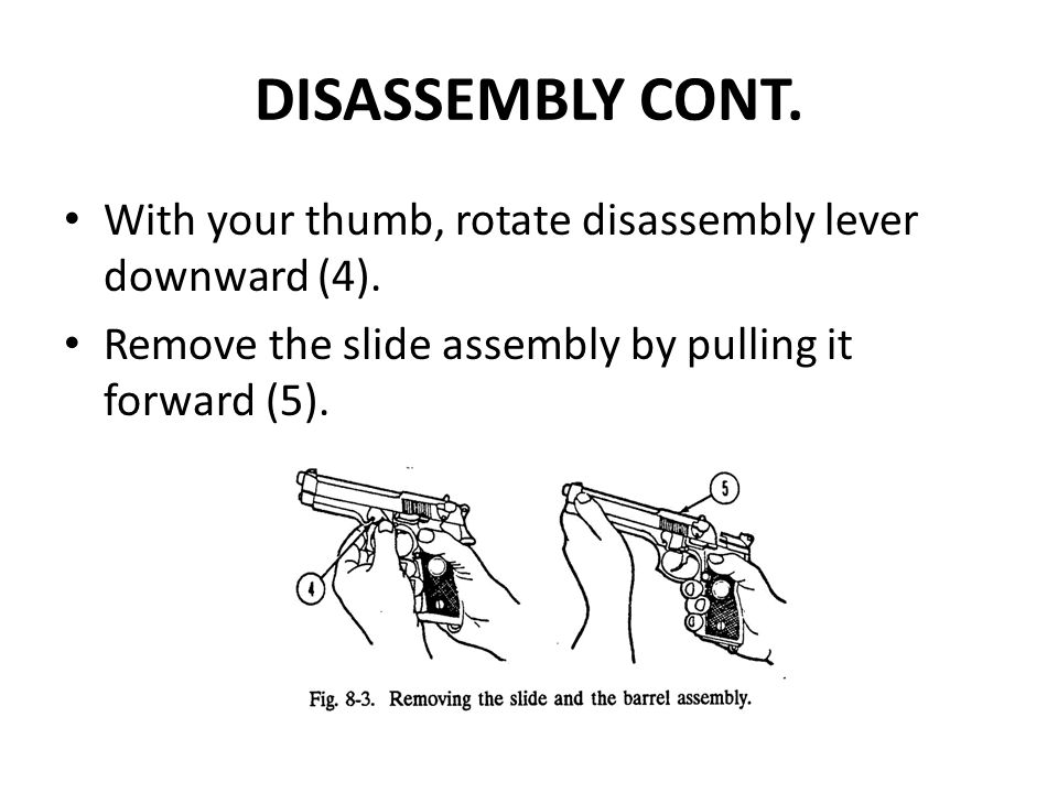 DISASSEMBLY CONT. With your thumb, rotate disassembly lever downward (4).