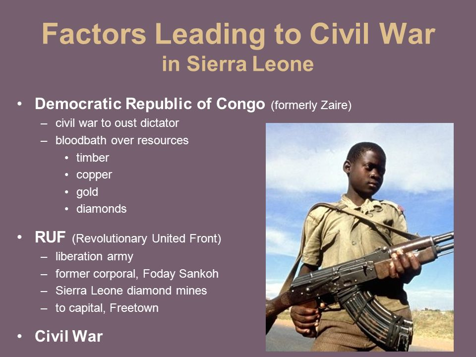 civil war in sierra leone The war in sierra leone has been long and confusing before  'the kamajoi  militia: civil war, internal displacement and the politics of counter- insurgency.