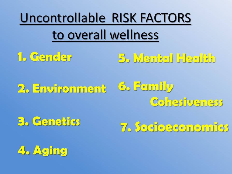 uncontrollable environmental factors The risk increases if more than one family member has the illness when  diseases tend to run in families, either heredity (genetics), environmental factors, .