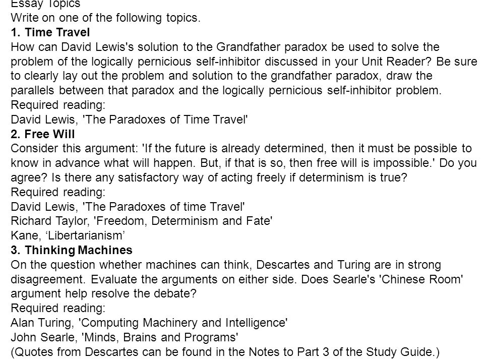 time self and mind ats introduction to philosophy b  essay topics write on one of the following topics 1 time travel