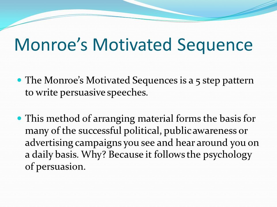monroe motivated sequence Sample persuasive speech outline monroes motivated sequence - download as pdf file (pdf), text file (txt) or read online.