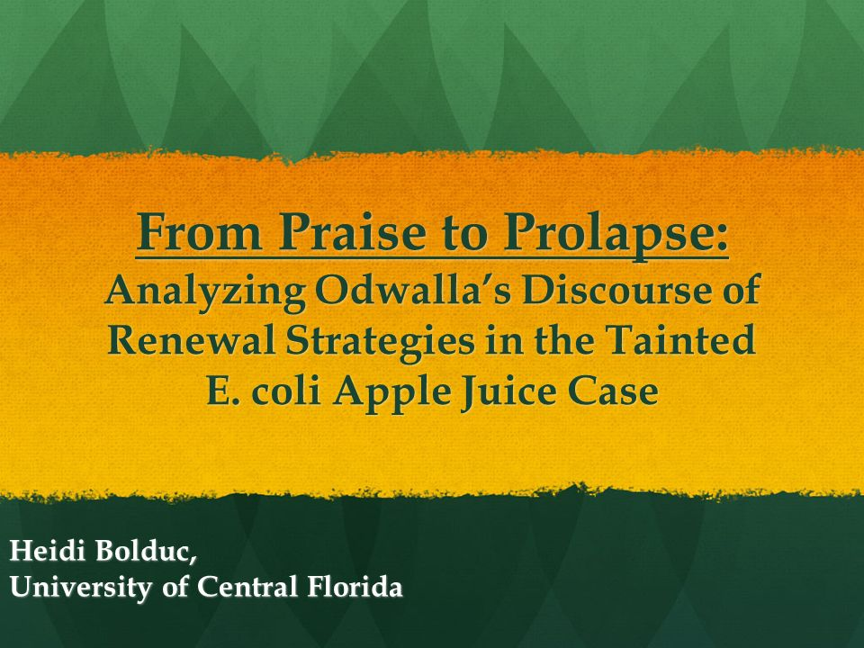 odwalla juice recall crisis Odwalla's juice, because of production costs, is typically sold at prices higher than most other juice products, and the price of the juice can vary over time because of weather or disease affecting the supply of fruit and vegetables.