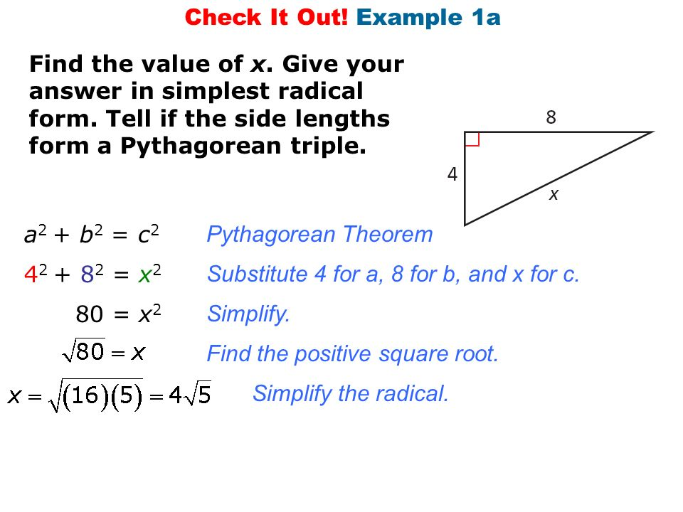 8.1 Pythagorean Theorem Understand how to use the Pythagorean ...