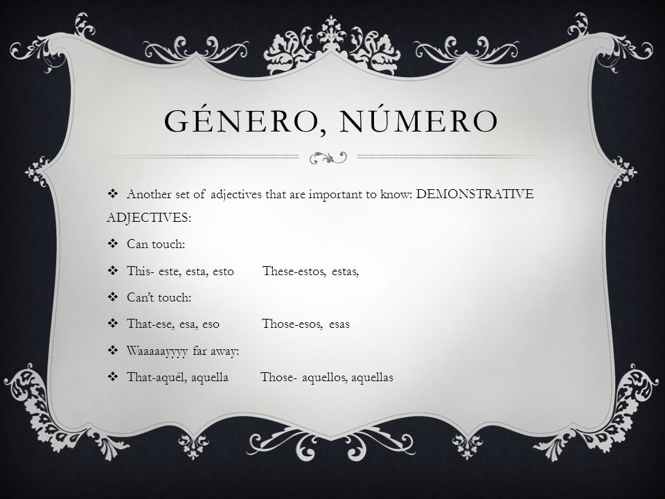 gÉnero, nÚmero Another set of adjectives that are important to know: DEMONSTRATIVE ADJECTIVES: Can touch: