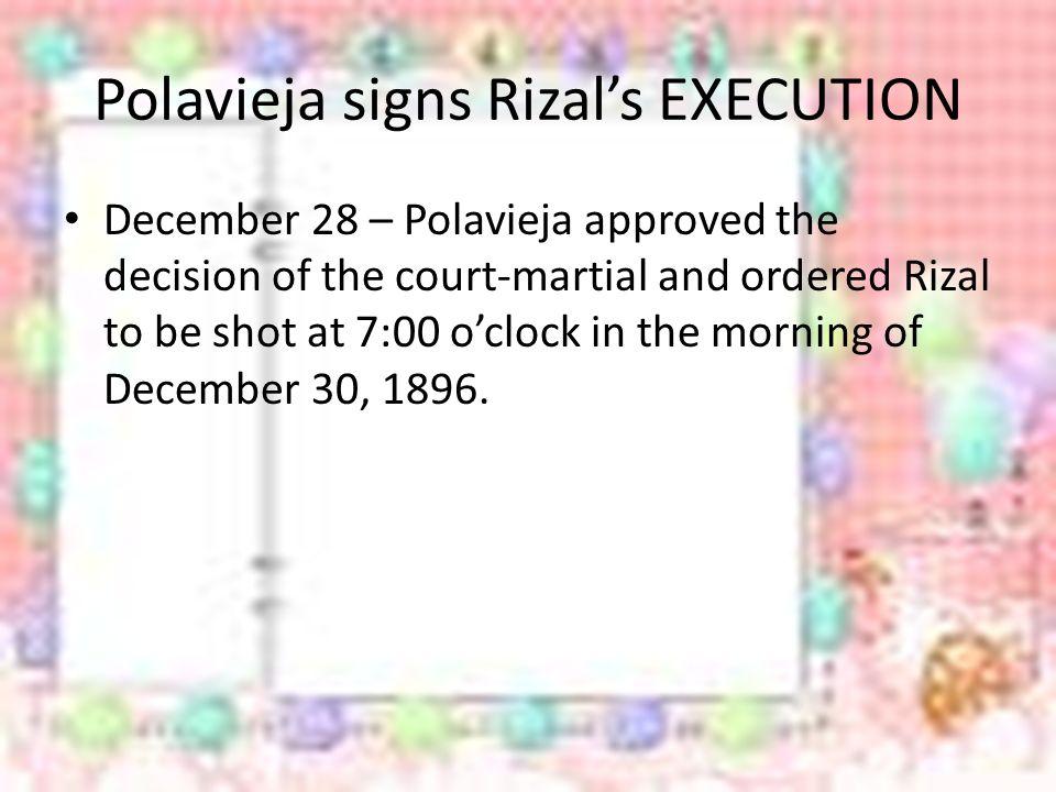 Polavieja signs Rizal's EXECUTION
