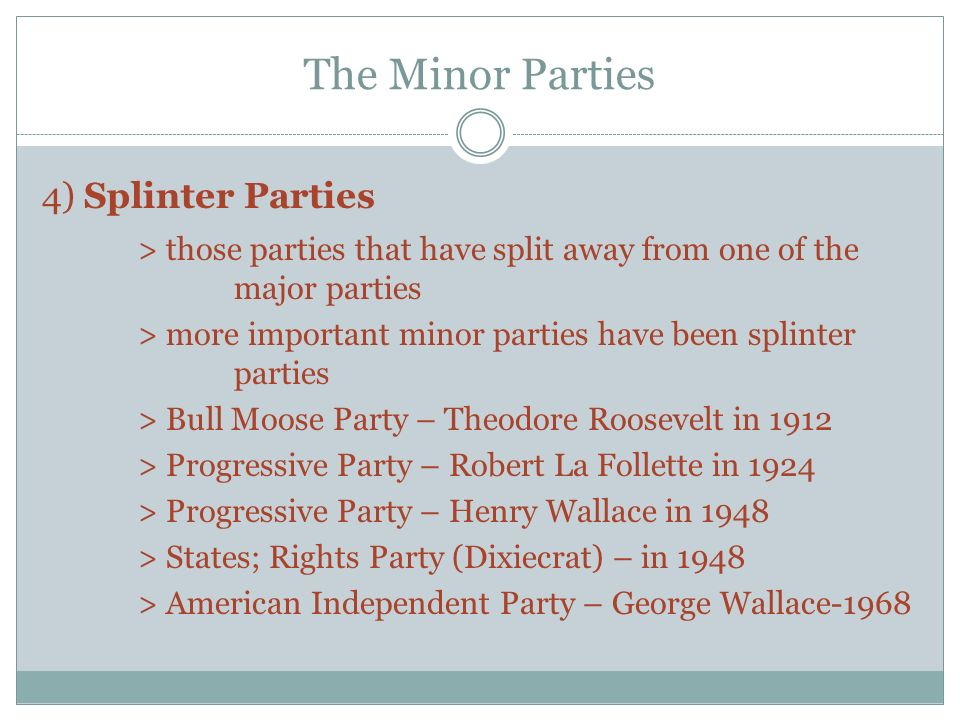 minor parties The following lesson will introduce the concept of third parties, as well as explain their role in the national political party system a short.