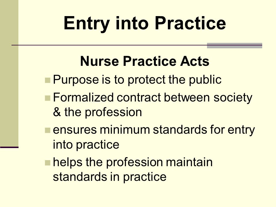 nurse practice act Nursing has come a long way since the days of florence nightingale, and this ever-evolving dynamic profession has seen tremendous changes over the years the nurse practice act (npa) is one of these changes enacted by the legislature of each state to protect patients' safety and to guide the scope .