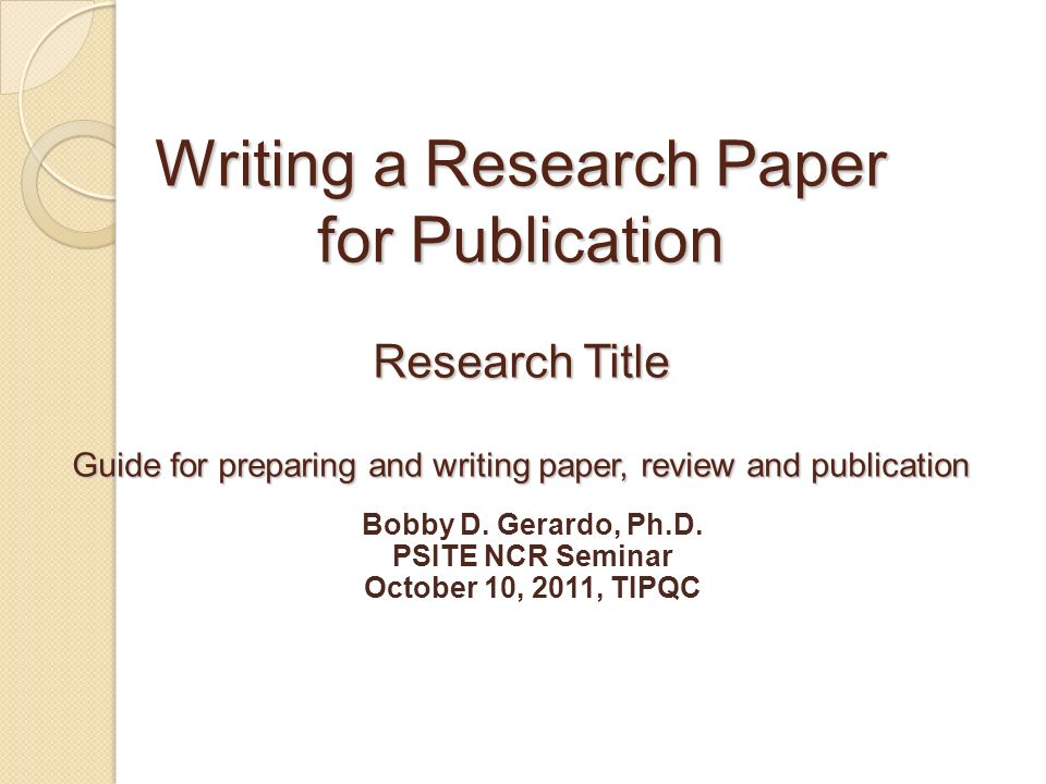 How to Write a Quality Seminar Paper