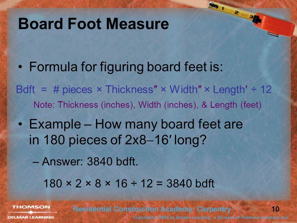 Calculate Board Feet