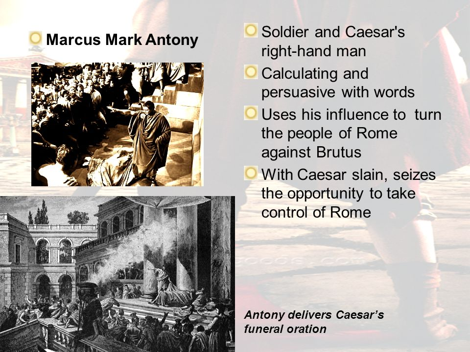 comparing brutus and mark antonys funeral speeches There are many similarities and differences in the way that brutus and antony speak to their audience in their orations in these orations, antony and brutus try to connect to the audience and saw them to believe what they themselves believe in relation to whether caesar should have or should not.